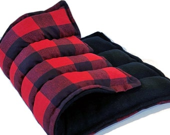 Heat Pack, Warm Comfort Pack, Rice Flax Heating Pad, Large Microwave Hot Pack Cold Pack, Green Red Plaid Flannel