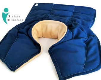 Extra Large Flax and Rice Heating Pad for Man covers Neck Shoulders and Down the Back