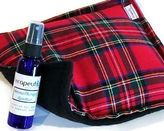 Affordable Heating Pad Kit, Christmas Plaid Rice Bag with Herbal Aromatherapy Spray