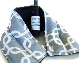 Hot or Cold Neck wrap with Optional Aromatherapy Spray, Lavender Peppermint Sinus Eucalyptus Scent Available.