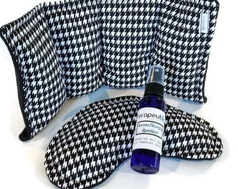 Houndstooth Heating Pad Set, Lower Back Eye Pillow Hospital Post Surgery Kit