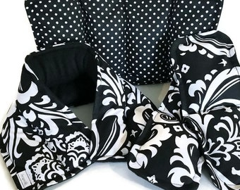 Black and White Damask Heating Pad Kit for the Microwave, Pretty Fabric Hot Pack Cold Wrap Set