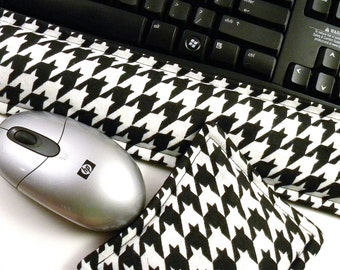 Office Decor, Black White Houndstooth Desk Set, Mouse Ergonomic Keyboard Wrist Rest, Wrist Supports Mouse Pad, Geek Gift Tech Accessory