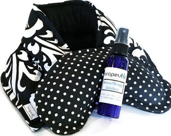 Unscented Heated Neck Wrap with Eye Pack Kit, Aromatherapy Mist, Reusable Clever Get Well Gift