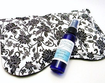 XL Large Sinus Eye Pillow Heat Pack Cold Pack, Large Eye Pack, Eucalyptus Spritzer, black and white