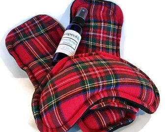 Red Plaid Flannel Heating Pads for Feet and Eyes, Puffy Eyes, Sore Feet, Plantar Faciitis