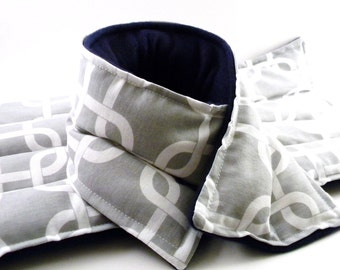 LARGE Heating Pad Gift Set, Lumbar Heat Pack Neck Wrap, microwave rice bag flax seed pillow, gray grey geometric