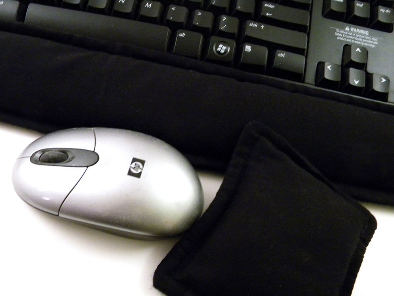 Gift for Him Geek Kit Computer Keyboard Wrist Rest Mouse Wrist Support for Men or Women solid black