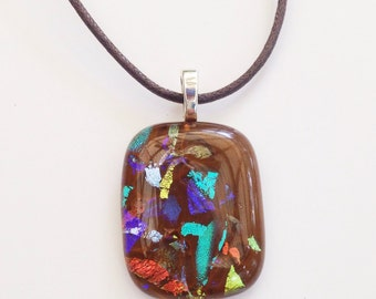 Dichroic glass pendant - chocolate brown,  blue silver turquoise gold dichro - multicolor dichro necklace - fused glass pendant necklace