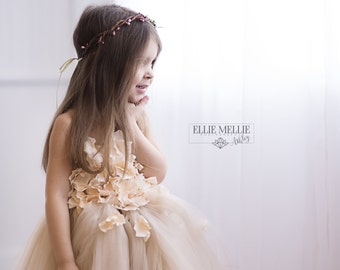 Flower girl dress Champagne Dress Champagne tutu dress, flower top, hydrangea top, toddler tutu dress Cascading flowers
