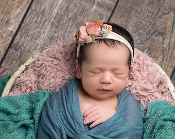 Baby Headband, Jersey Tieback, Newborn Headband, Baby Girl Tieback, Tieback, Neutral Tieback