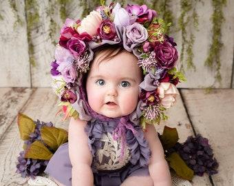 Garden Bonnet, Knit Baby Bonnet, Baby Photo Prop, Newborn Photo Prop, Newborn Baby Girl Hat, Baby Hat, Knit Baby Hat, Purple bonnet