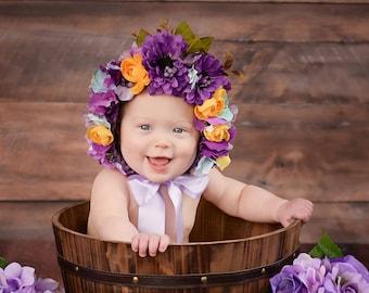 Flower Bonnet, Baby hat, Garden Bonnet, Sitter Bonnet, Floral Bonnet, Baby Photo Prop, Newborn Photo Prop, Newborn Baby Girl Hat