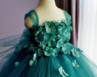 6399fea8bf Flower girl dress grass green Dress, Green tutu dress, flower top,  hydrangea top, toddler tutu dress Cascading flowers