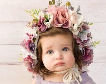 Sitter Bonnet Babyblue toddler crown,infant toddler prop baby crown Flower Bonnet Photo Prop crown is  Bonnet style,Baby  Shower Gift