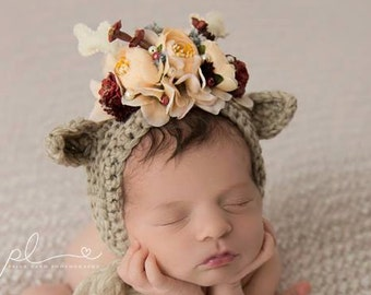 Reindeer Bonnet, Flower Bonnet, Floral Bonnet, Garden Bonnet, Sitter Bonnet, Christmas Bonnet, Baby Photo Prop, Newborn Photo Prop,