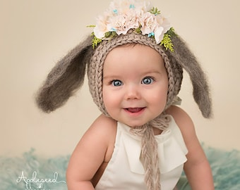 Flower Bonnet, Floral Bonnet, Garden Bonnet, Bunny Bonnet, Sitter Bonnet, Fall Bonnet, Easter Bonnet, Baby Photo Prop Newborn Photo Prop,