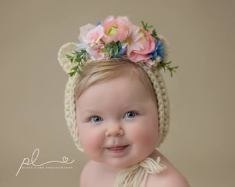 Flower Bonnet, Floral Bonnet, Garden Bonnet, Bear Bonnet, Sitter Bonnet, Fall Bonnet, Easter Bonnet, Baby Photo Prop Newborn Photo Prop,