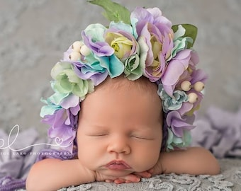Flower Bonnet, Floral Bonnet, Garden Bonnet, Sitter Bonnet, Baby hat, Baby Photo Prop, Newborn Photo Prop, Knit Baby Bonnet, Baby Hat