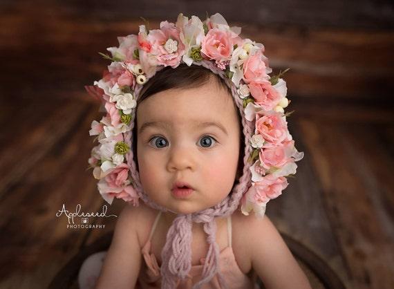 Baby Photo Prop  bonnet Baby Knit Bonnet Ivory lace Sitter bonnet