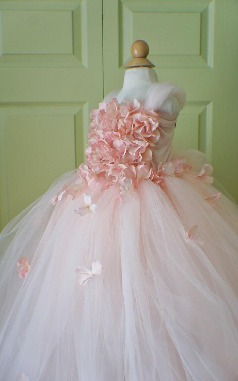 hydrangea top toddler tutu dress Cascading flowers flower top Flower girl dress Blush Pink Dress Pink Blush Pink tutu dress