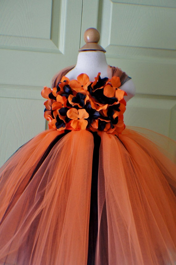 Orange-Red Flower Girl Dresses