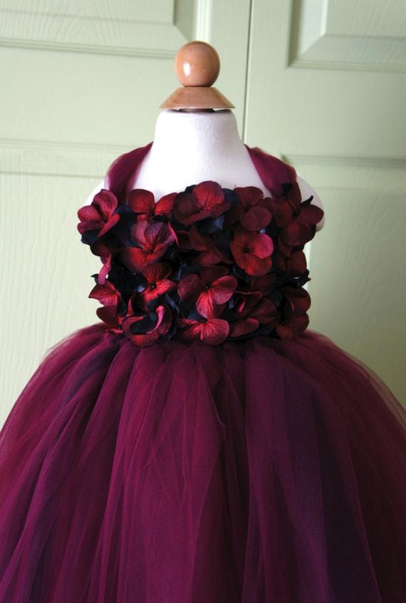 Flower Girl Dress Marsala Dress Wine Red And Black Tutu Etsy