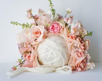 Garden Bonnet, Knit Baby Bonnet, Baby Photo Prop, Newborn Photo Prop, Newborn Baby Girl Hat, Baby Hat, Knit Baby Hat, Pink bonnet
