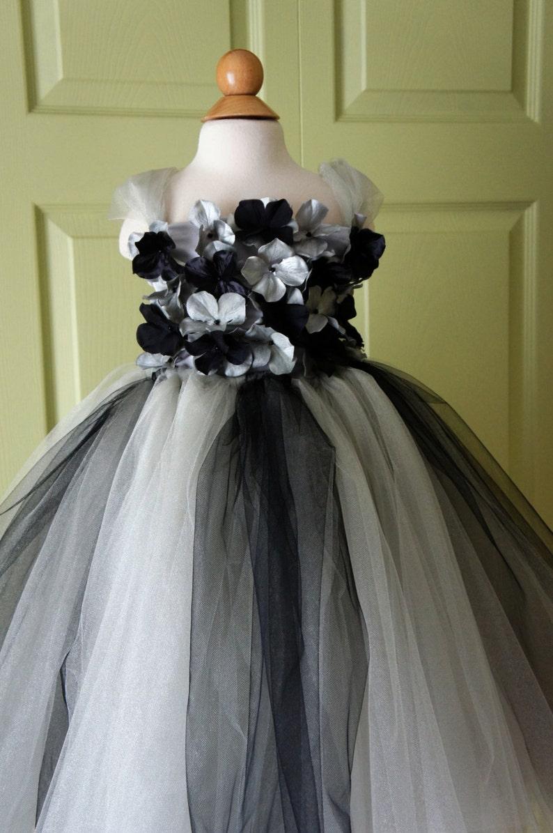 Flower girl dress Black and Silver tutu dress toddler tutu dress hydrangea top flower top