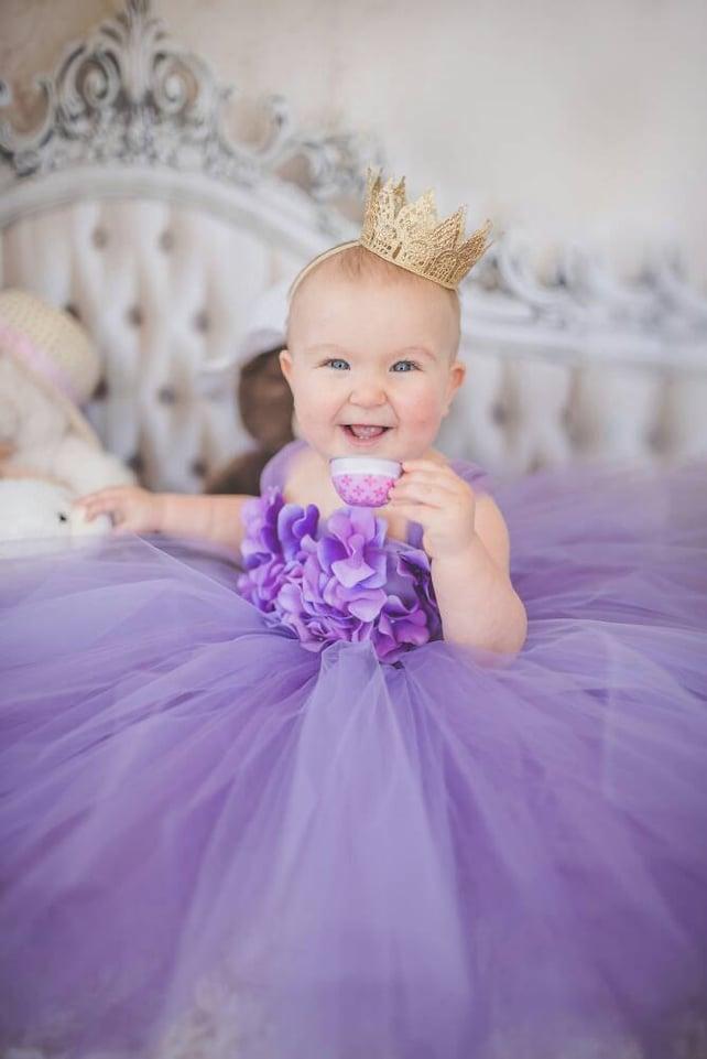Flower Girl Dress, Tutu Dress, Photo Prop, Lavender Purple, Flower Top, Tutu Dress