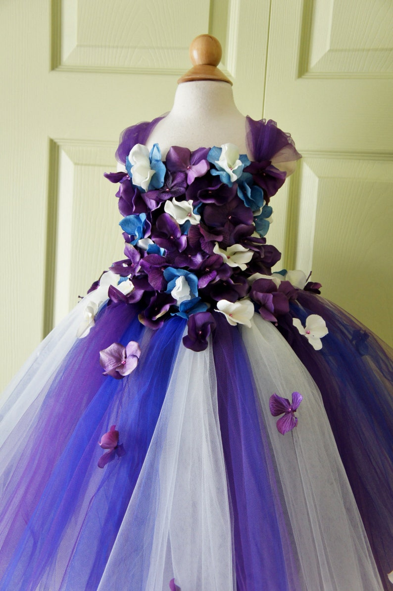 Ble and Purple Flower Girl Dresses