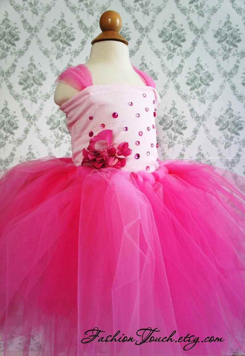 Photo Prop Flower Top in Bright Pink Flower Girl Tutu Dress Flower girl dress
