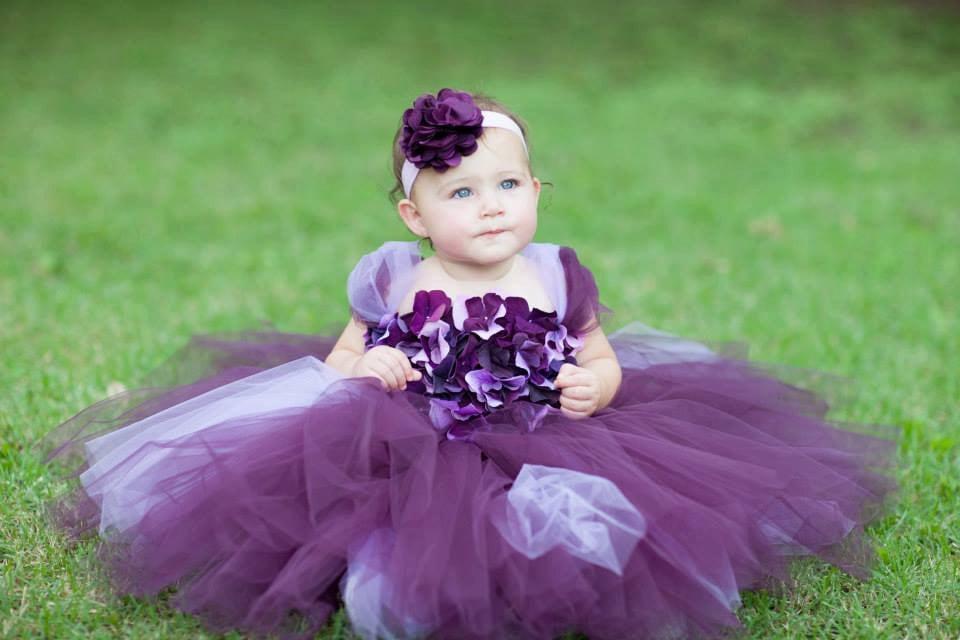 0d5e765dbe5 Flower girl dress Deep Purple and Lavender tutu dress flower