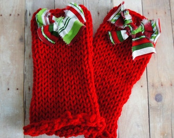 Knit Baby Leg Warmers Bright Red with the Bow