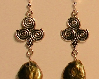 Gold coin pearls and sterling silver earrings