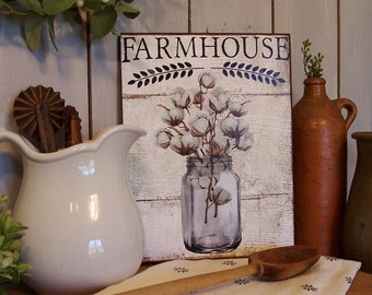 Farmhouse Cotton Boll Stems Wooden Sign for your Rustic Shabby Chic or Farmhouse Decor