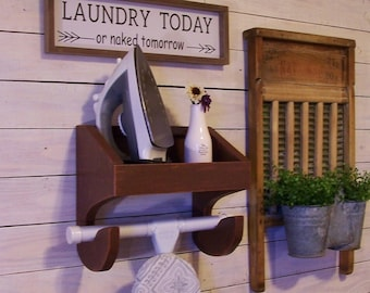 Unfinished You Paint Ironing Board and Iron Shelf T Shaped Feet Farmhouse Laundry Room