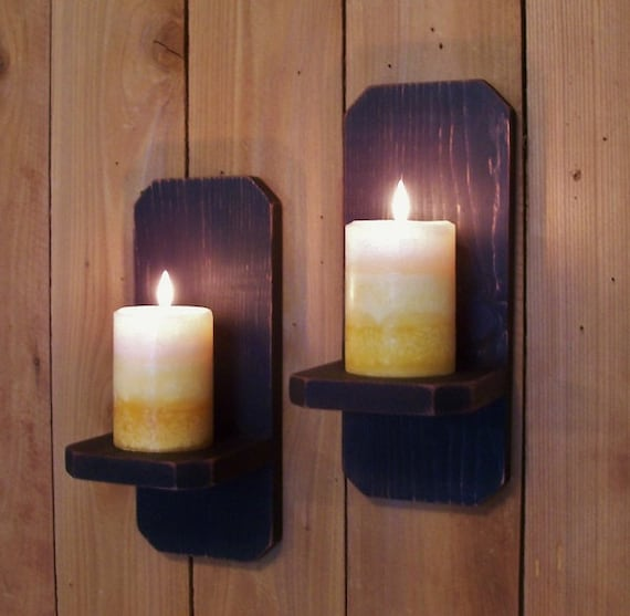 Skyrim Wall Sconces Not Working: Primitive Pair Of Wall Sconces Candle Holders Farmhouse
