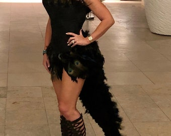 Peacock and Black Boa Feather Bustle FULL LENGTH Costume with Optional Swarovski Crystals -The Original! - PREORDER For Halloween