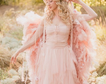 CUSTOM MADE Blush Pink Dusty Rose Rococo Marie Antoinette trich Feather Wings In Your Choice of Colors and Lengths
