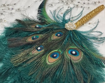 Gold and Teal Ostrich and Peacock Feather Fan with Sword Feathers in Gold or Silver - in your choice of sizes and colors