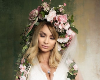 Princess Faerie Floral Headdress Crown Wreath with Butterflies, Embellishments and Streaming Floral Vines and Ribbons ~