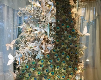 """IN STOCK! One 70"""" Exquisite Curled Feather Peacock Cake Topper Christmas decoration with Swarovski Crystals -"""