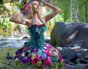 """Faerie Fantasy Corset and Hoop Skirt Tropical Floral Extravagance Dress """"Recycled Renaissance"""" - 3 Separate Pieces custom created for You"""