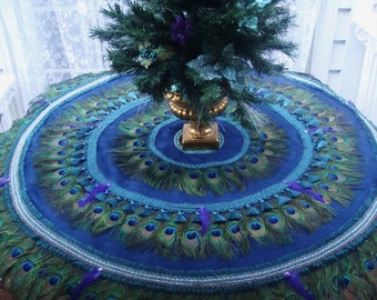 dual use peacock feather wedding tablecloth and peacock feather christmas tree skirt - Peacock Christmas Tree Skirt