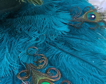 ostrich and curled peacock feather christmas tree skirt with crystal accents sizes 28 60 - Peacock Christmas Tree Skirt