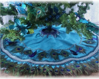 52 peacock feather tablecover christmas tree skirt or wall hanging in your choice of colors - Peacock Christmas Tree Skirt