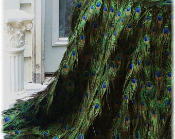 """Peacock Feather Tablecloth Extravagant Luxurious Rococo Gatsby Hollywood Photography Prop - 24""""-72"""" Table Diameter Custom Created for You!"""