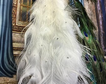 """Exquisite Curled Feather Peacock Cake Topper Christmas Decoration with Swarovski Crystals - 24""""-36"""""""