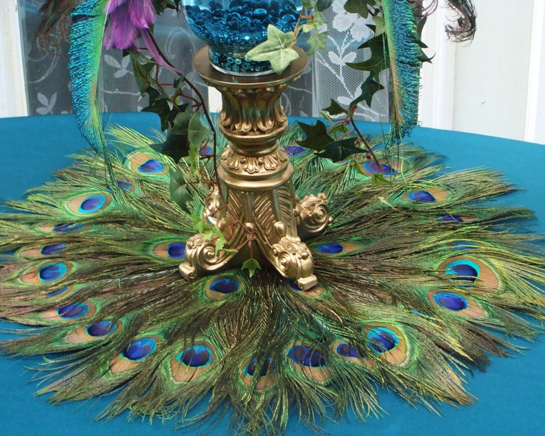 Peacock Feather Mat Placemat or Centerpiece Decoration in your image 0